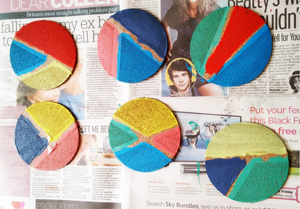 DIY Korek Kolorowe podkładki pod szklanki i kubki