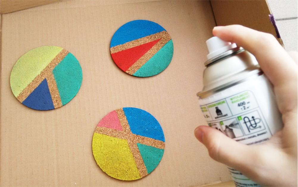 DIY Geometryczne podkładki korkowe pod szklanki i kubki