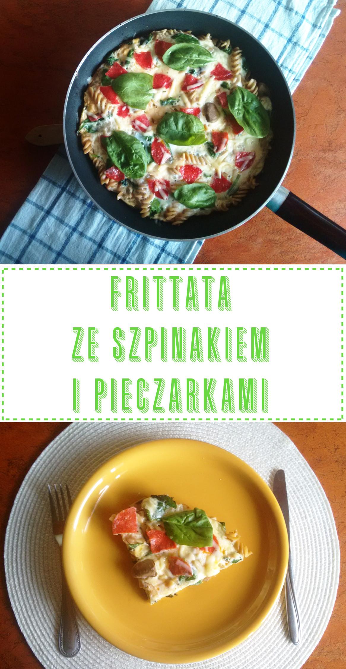Przepis: Frittata ze szpinakiem, pieczarkami i salami