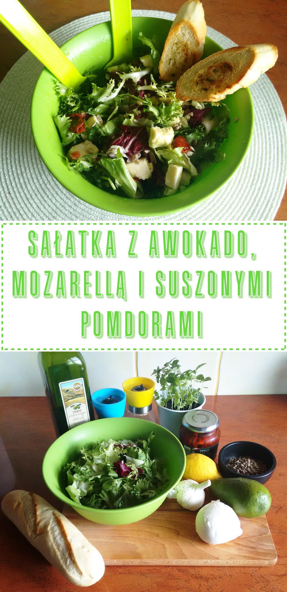 Przepis na sałatkę z awokado, mozzarellą i suszonymi pomidorami