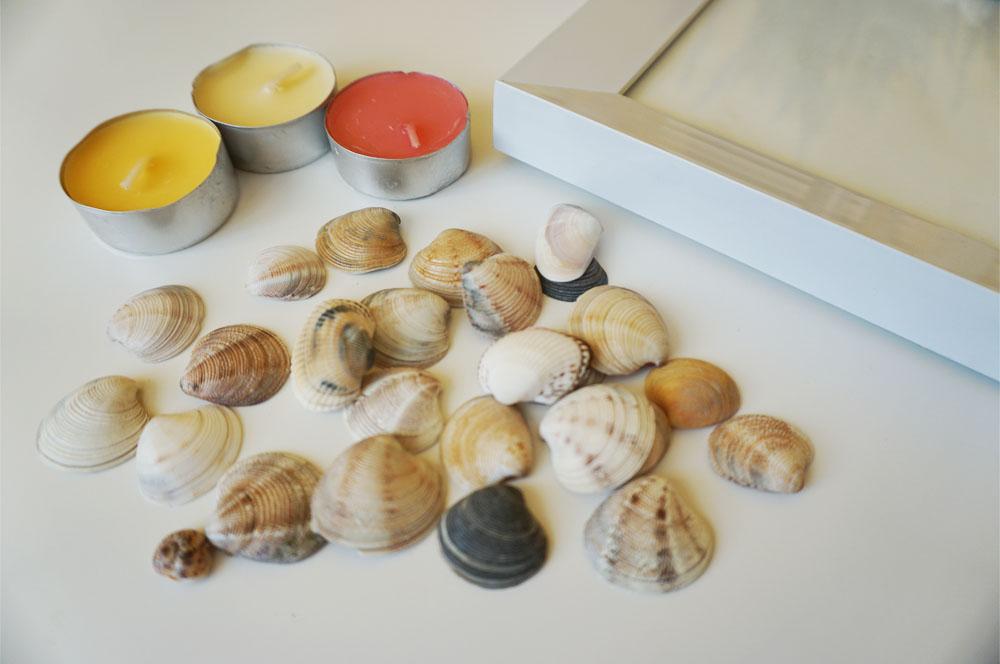 DIY Ramka na zdjęcie i świeczniki z wakacyjnych muszelek