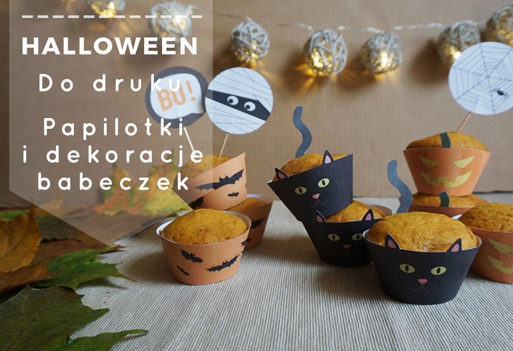 Halloweenowe papilotki i ozdoby babeczek do druku