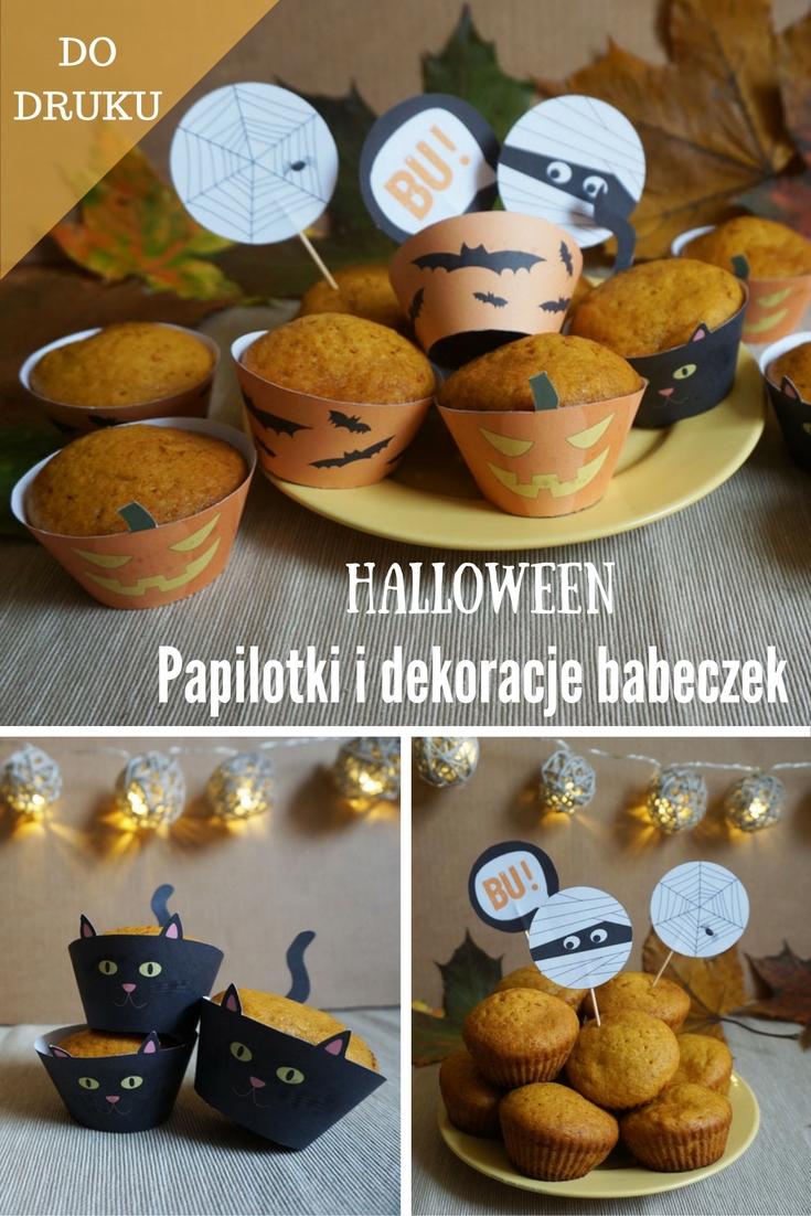 Halloween papilotki i dekoracje do babeczek do druku // Halloween printable cupcake liners, wrappers, toppers