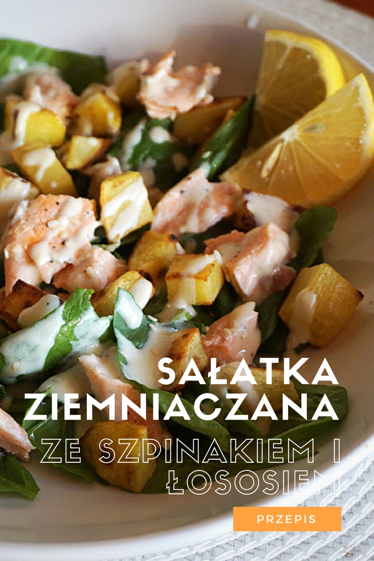 Przepis - Sałatka ziemniaczana ze szpinakiem i łososiem / Potato salad with spinach and salmon - Recipe