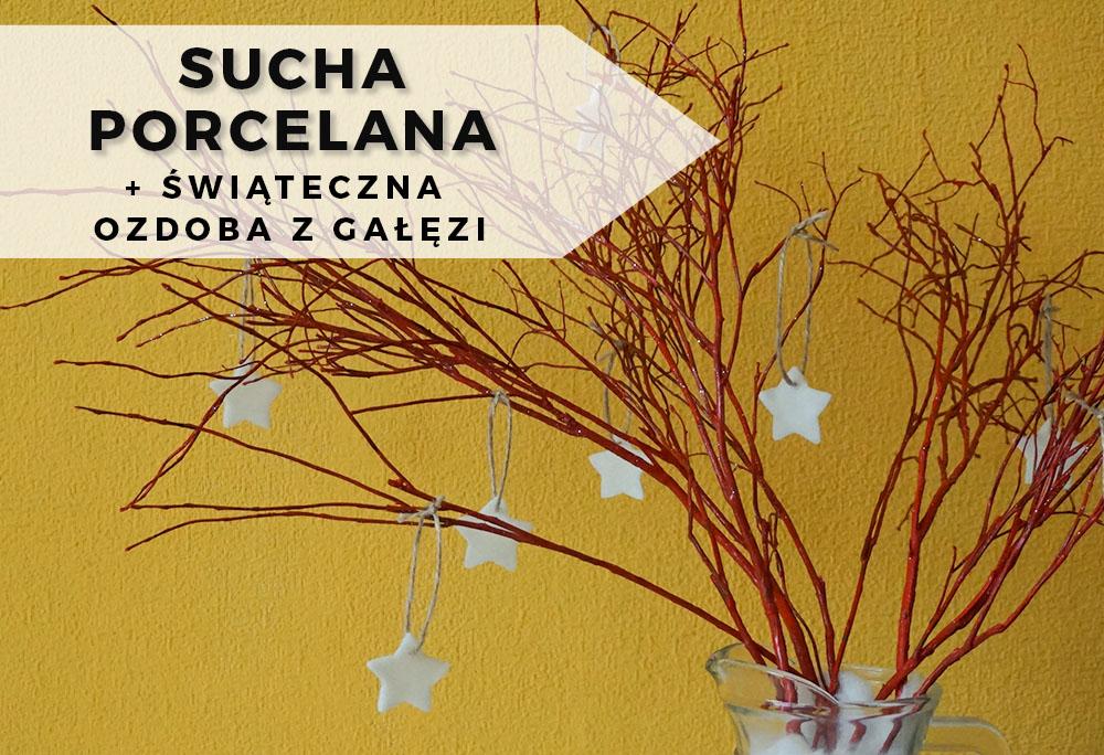 Sucha porcelana i świąteczna dekoracja z gałęzi