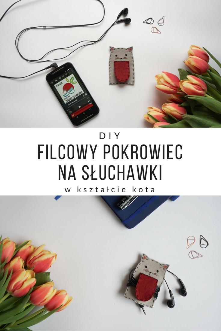 DIY Filcowy pokrowiec na słuchawki kot // DIY Felt headphones holder cat