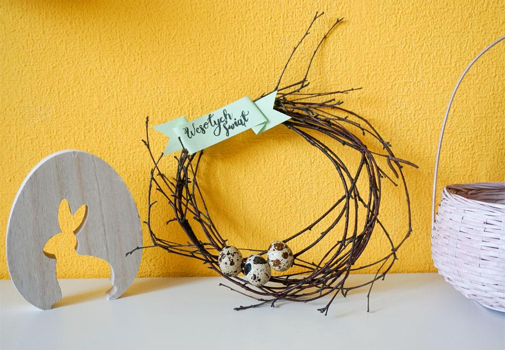 DIY Prosty wieniec wielkanocny - świąteczny wystrój wnętrz