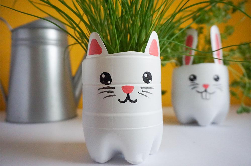 DIY Zrób to sam Doniczka z plastikowej butelki - kot