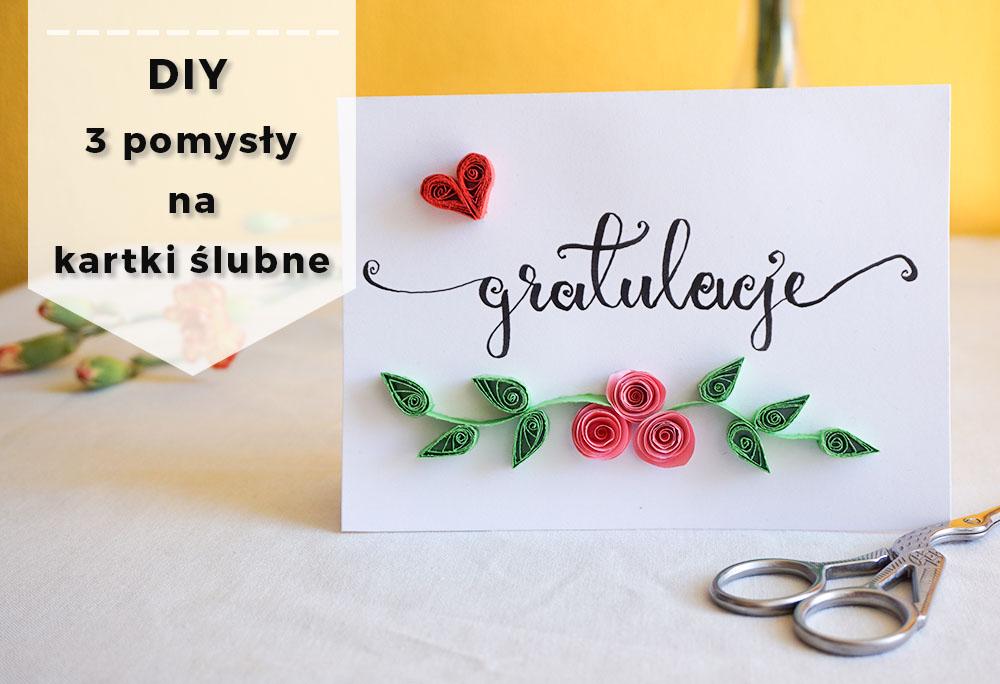 3 proste kartki ślubne wykonane własnoręcznie