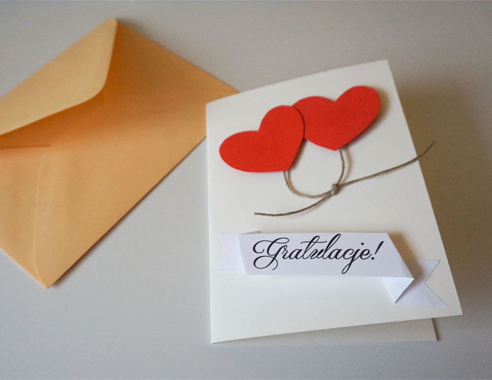 Prosta kartka ślubna handmade