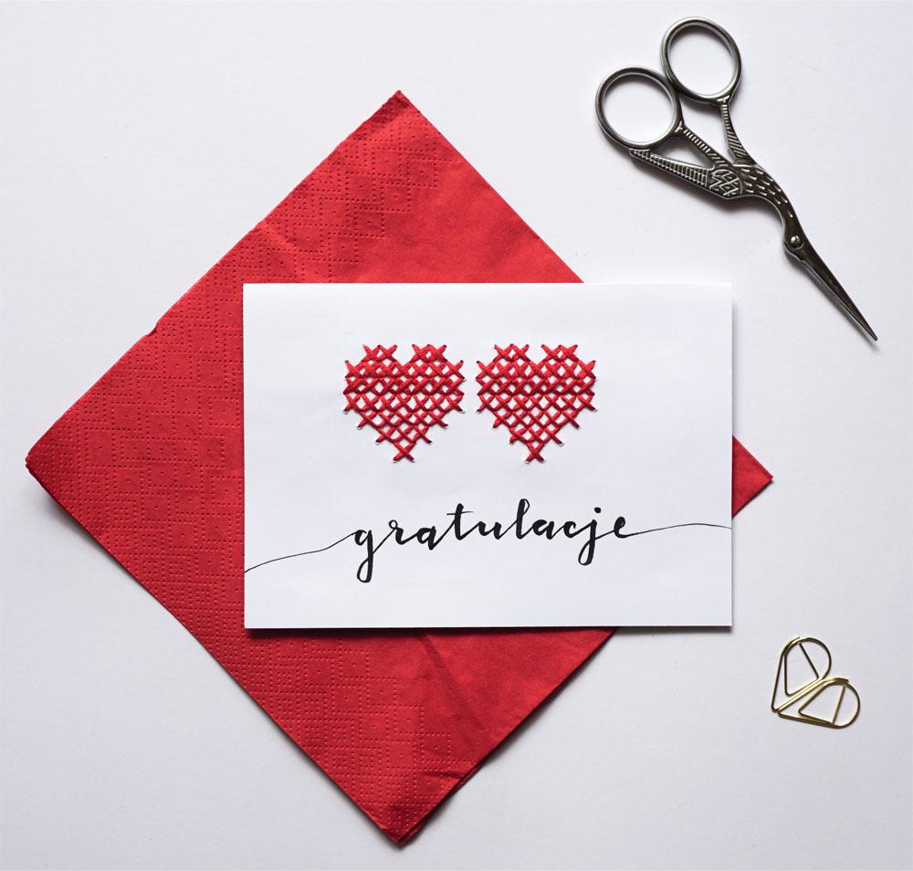 DIY Prosta kartka ślubna handmade - haftowana