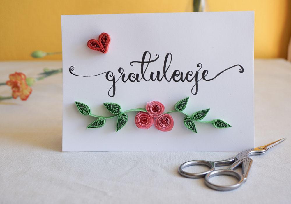 DIY Prosta kartka ślubna wykonana własnoręcznie - quilling