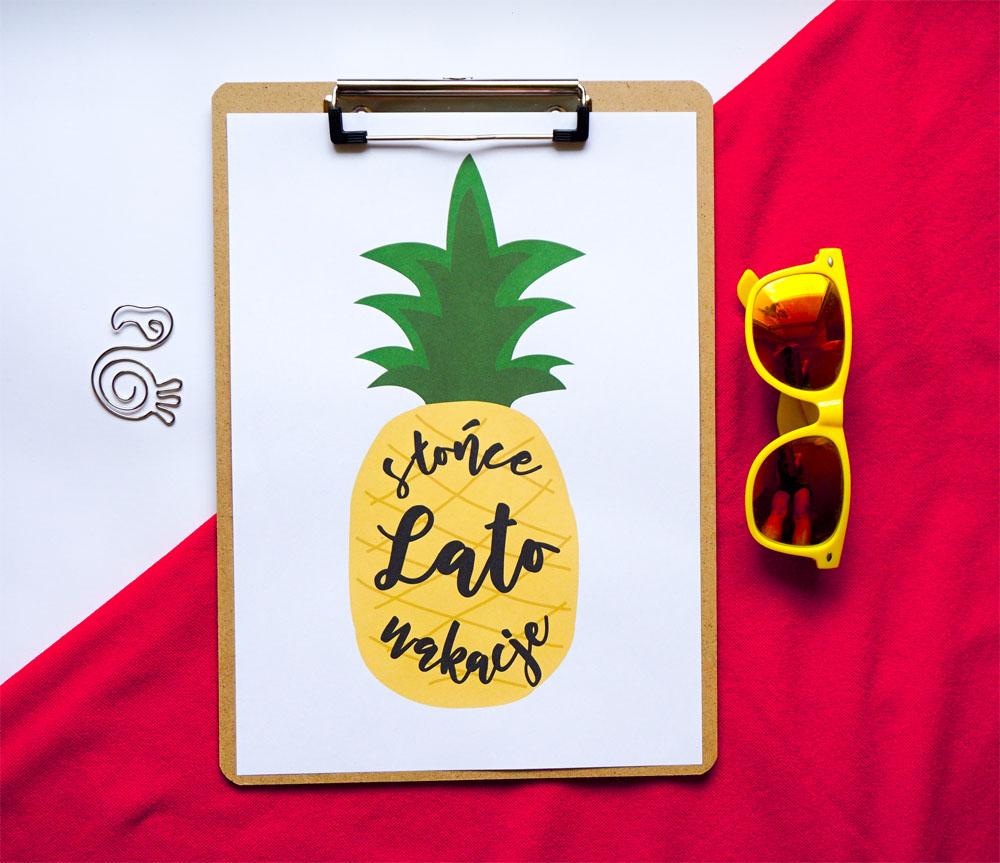 Postery do druku na lato - Ananas, Lato, Słońce, Wakacje