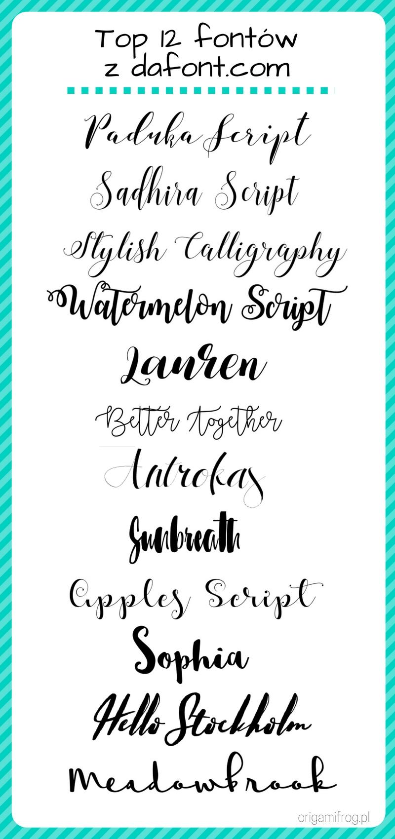 Top 12 - ulubione fonty z dafont.com / hand lettering, kaligrafia