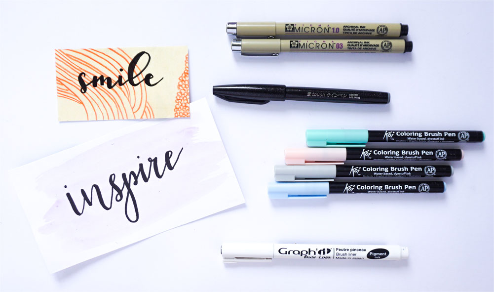 Brush lettering - brush pen - Pentel Touch, Sakura Koi, brush liner - Graph'it