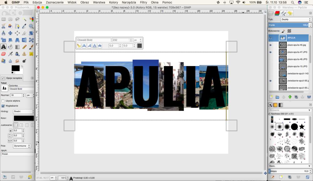 Jak wykonać zdjęcie w kształcie napisu w programie GIMP