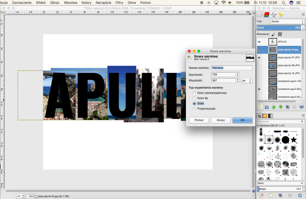 Jak zrobić zdjęcie w kształcie napisu w programie GIMP