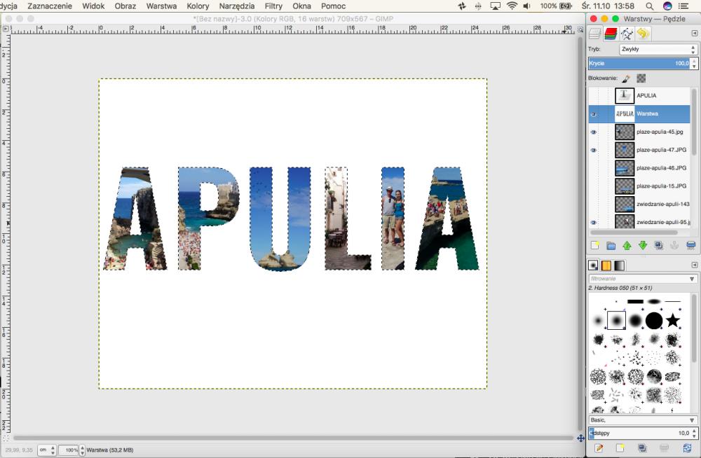 DIY Wakacyjna ramka z pamiątkami - Zdjęcie w kształcie napisu w programie GIMP
