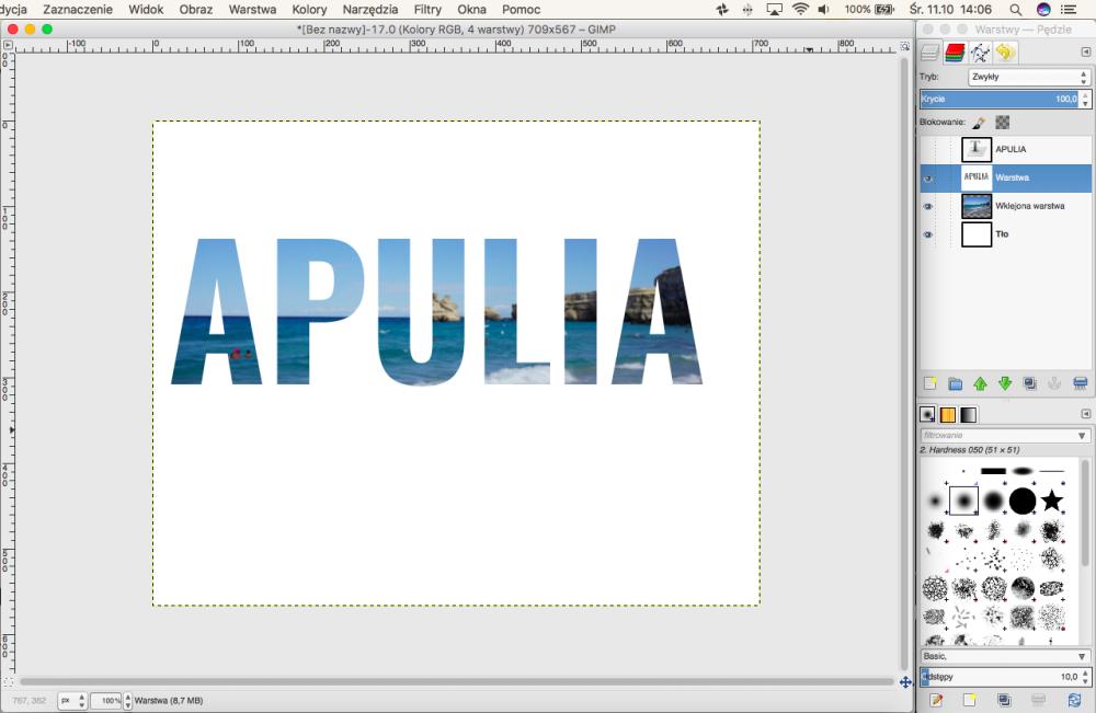 DIY Wakacyjna ramka z pamiątkami - jak zrobić napis ze zdjęciami w tle GIMP