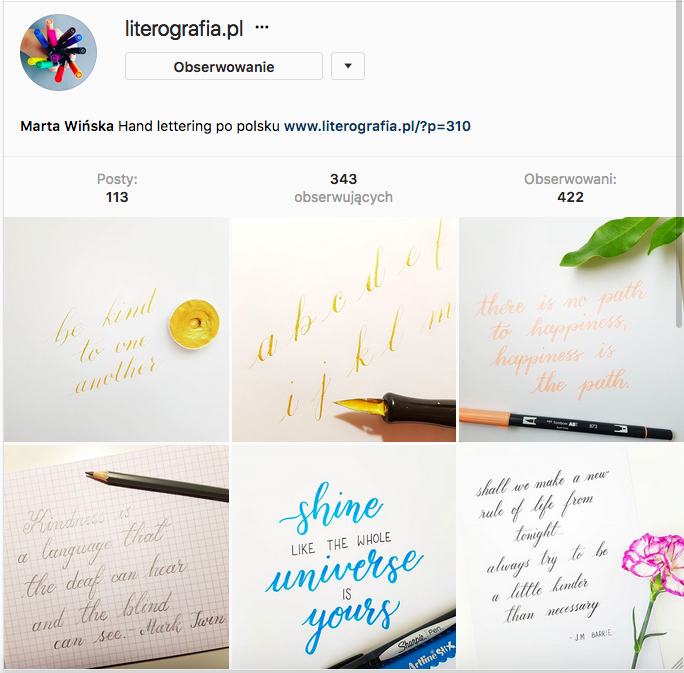 Hand lettering inspirujące profile Instagramowe