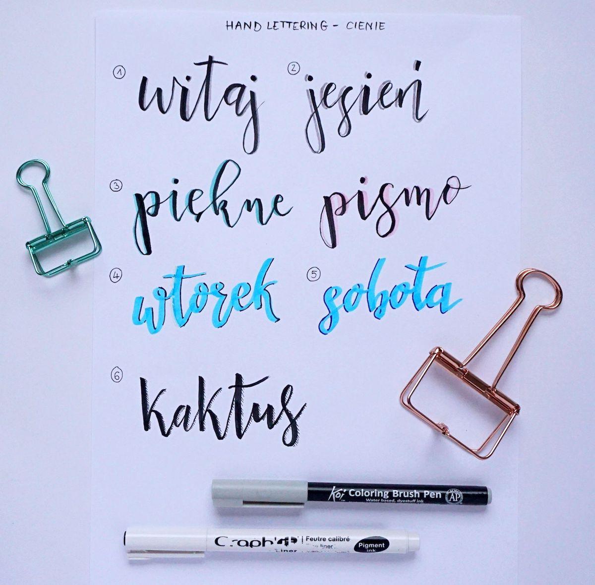 Hand lettering shadows cienie - jak ozdabiać litery - pomysły i inspiracje