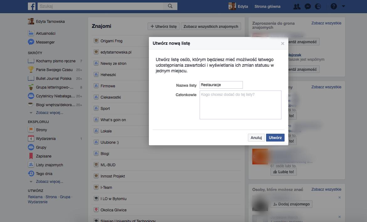 Jak stworzyć listę znajomych na facebooku - porządki na facebooku