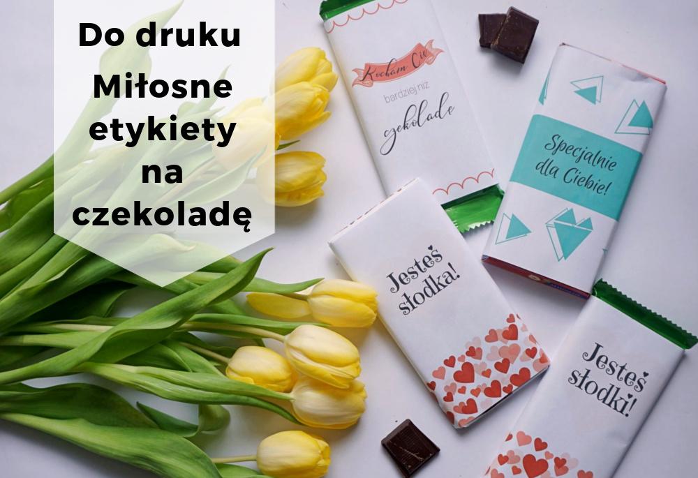 Miłosne etykiety na czekoladę do druku