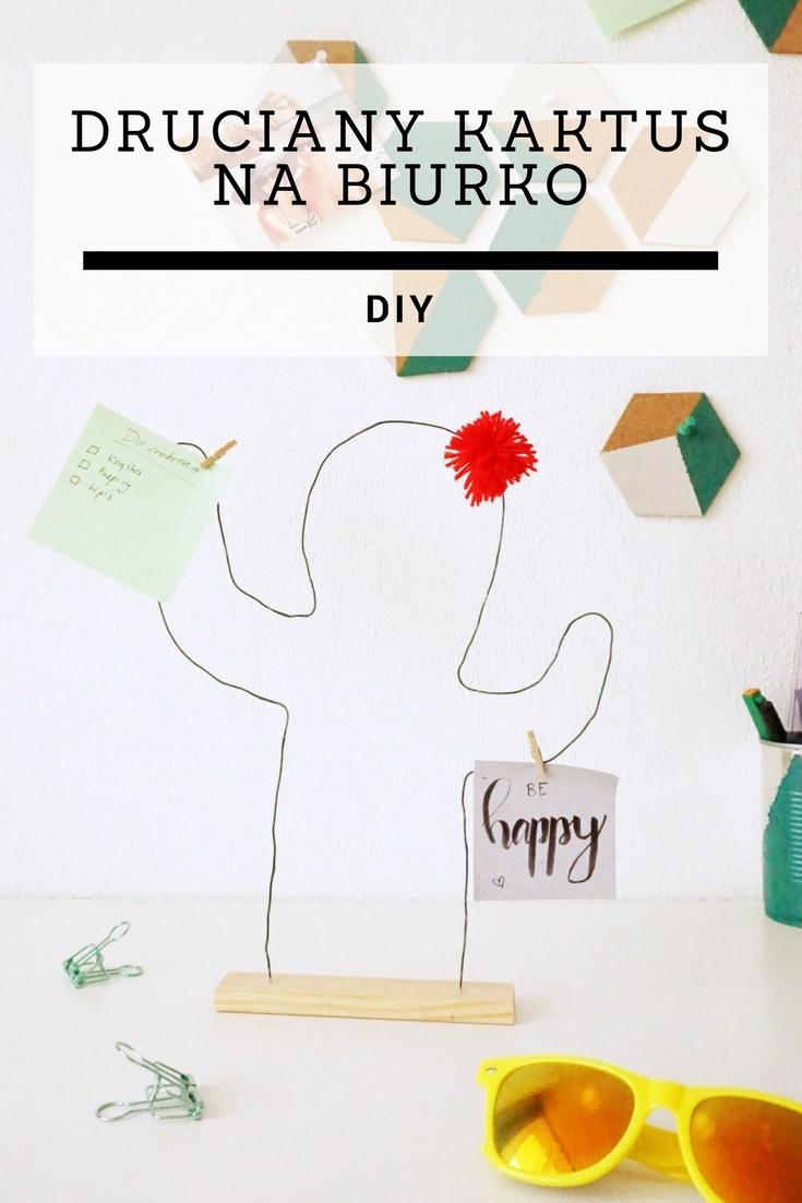 DIY Druciany kaktus na biurko, ozdoba i organizer