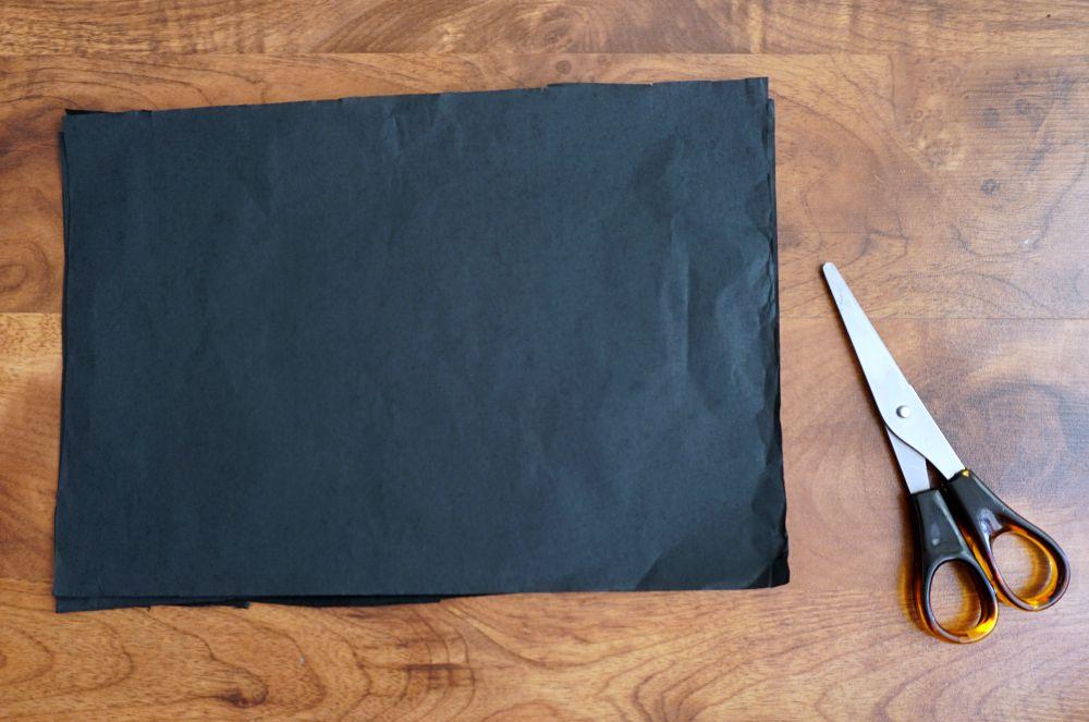 DIY Zrób to sam Girlanda z papierowych frędzli - czarno złota