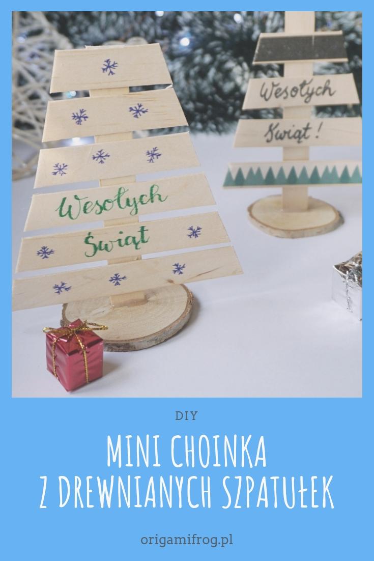 DIY Mini choinka z drewnianych szpatułek
