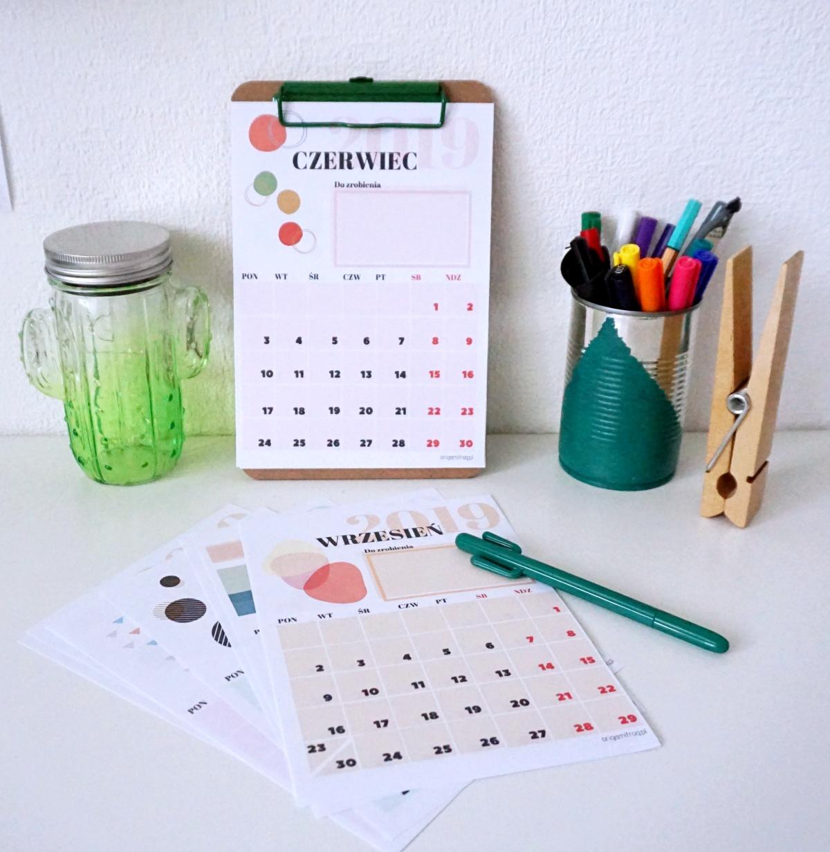 Kalendarz 2019 pdf do druku szablon