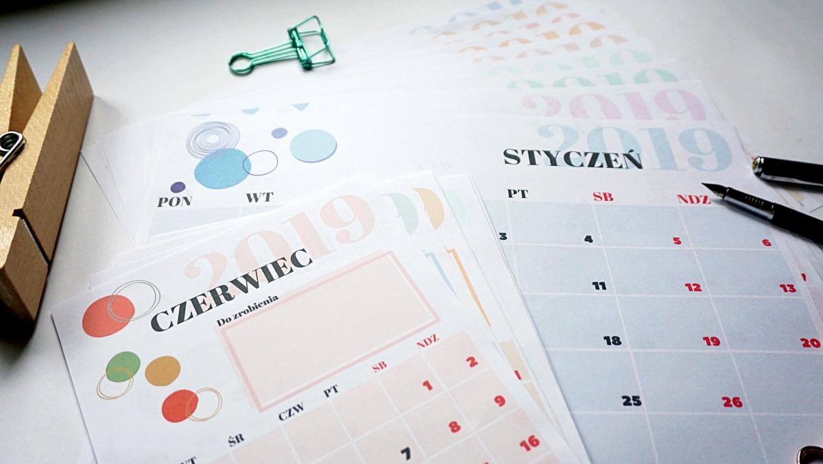 Kalendarz 2019 do druku po polsku