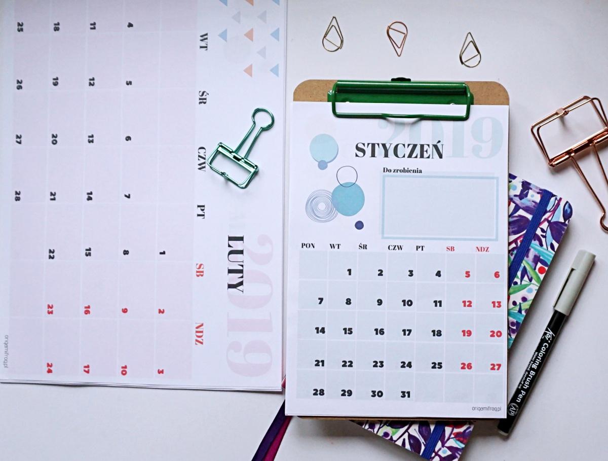 Kalendarz 2019 do druku bujo