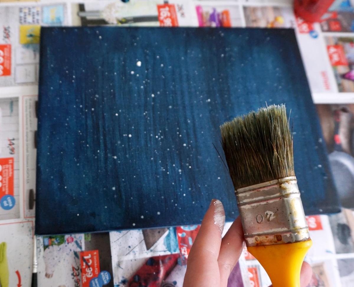 DIY Gwieździsty świecący obraz - motyw galaxy