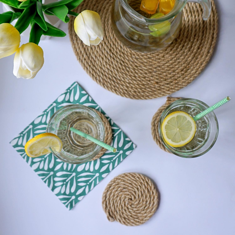 DIY Zrób to sam Podkładki pod szklanki z liny jutowej, podkładki pod talerz